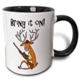 3dRose Cute Funny Buck Deer with Hunting Rifle Bring it on Cartoon Ceramic Mug, 11 oz, Black/White