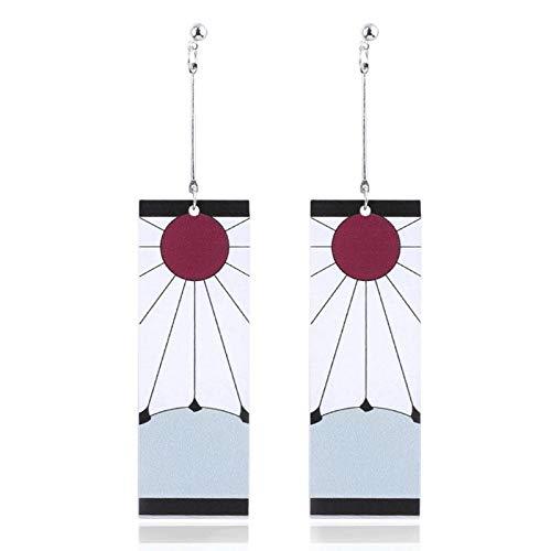 Fugift 1 par de pendientes Kimetsu No Yaiba Tanjirou Kamado Demonios Slayer Anime Japonés Cosplay Prop Acrílico Oído Stud Eardrops Decoración Regalos Pendientes Acrílicos