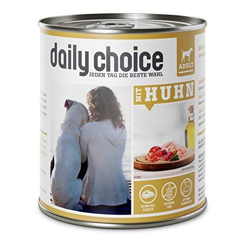 daily choice - 12 x 800 g - Nassfutter für Hunde - getreidefrei - Mit Huhn - 70% Frischfleisch- und Innereienanteil Optimale Verträglichkeit