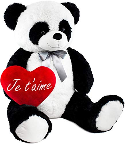 BRUBAKER Peluche Gigante XXL - Oso Panda - 100 cm - Corazón