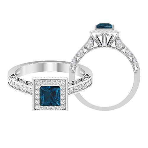 Anillo de boda milgrain, anillo de gemas de 1 ct, diamante HI-SI de 5 mm de topacio azul Londont, anillo de diamante de corte princesa, 14K Oro blanco, Size:EU 55
