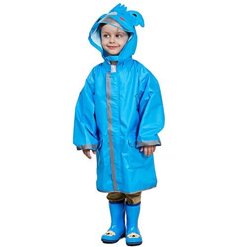 Bwiv Bwiv Regenponcho Unisex Wasserdicht Leicht Regenmantel Schulranzen Atmungsaktiv Regenjacke Tasche Outdoor Regen Overall Reflektoren mit Tiermuster Kapuze für Jungen Mädchen Blau S