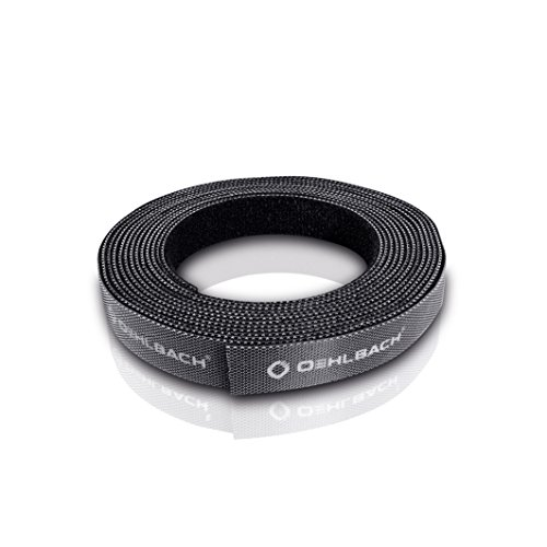 Oehlbach Hook & Loop - Klettband & Kabelmanager, Kabelbinder- Individuell kürzbar, extra Starke Klett-Haftung - 2 m - schwarz