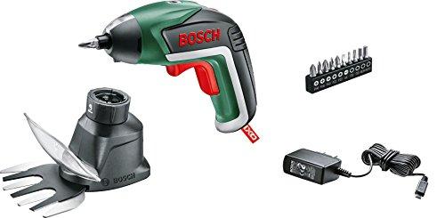 Bosch accuschroevendraaier Ixo tuinset (met opzetstuk voor gras- en struikschaar, 3,6 volt, in doos)
