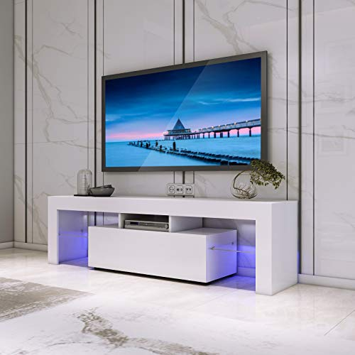 LED TV Stand Cabinet Unit Modern TV Desk With Storage For Living Room Home Forniture 130CM Width White Matt Body And High Gloss Door W/Free LED Light