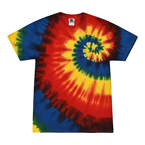 Colortone - Camiseta batik unisex «Swirl» Rainbow Burst. XL