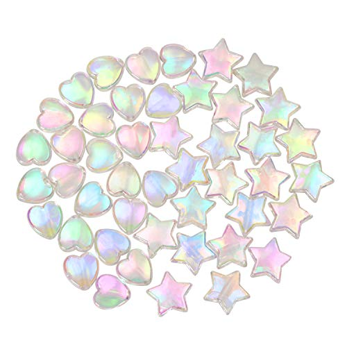 Tupalizy 100PCS Mini Acrylic Beads 9mm Heart Charms and 11mm Star Beads for Jewelry Making Bracelets Necklaces Earrings Key Chains Accessories Kid DIY Crafts Valentine Christmas Birthday Gifts (White)