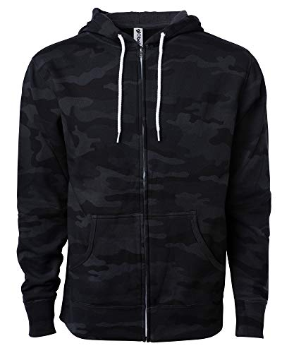Global Blank Slim Fit Lightweight Zip Up Hoodie Men and Women Hooded Sweatshirt (X-Large, Shadow Camouflage)