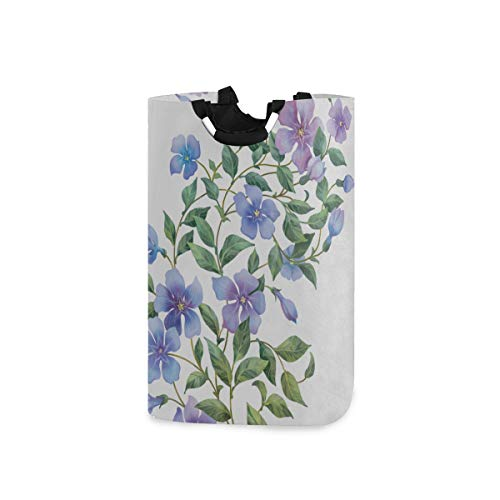 ZANSENG 50L Large Laundry Basket,Branch Periwinkle Flowers Isolated On White Collapsible Fabric Laundry Hamper, Foldable Clothes Bag, Folding Washing Bin for Bedroom
