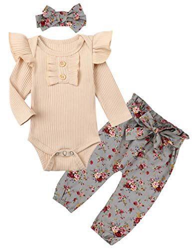 Toddler Baby Girl Clothes 9-12 Months Toddler Baby Girls Outfits Romper + Pants Winter Outfit Set 3PCS Lavender Purple