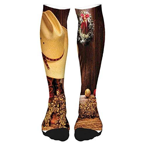 Calcetines altos de algodón por encima de la rodilla, para hombre y mujer