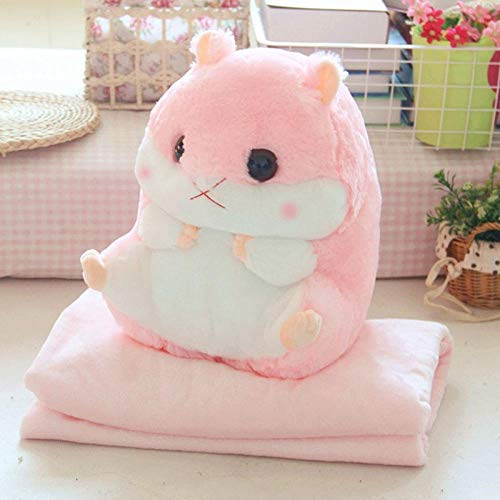 Liubbo Sofa Bed Blanket 2 In 1 Hamster Cushion Blanket Set Cute Plush Stuffed Throw Pillow With Blanket Toy P7Ding-Pink_S_Blanket