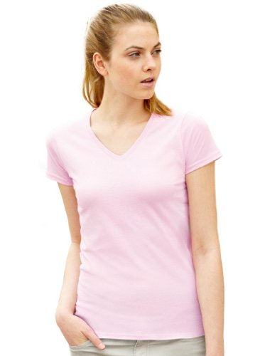 Lady-Fit Valueweight V-Neck T-Shirt von Fruit of the Loom Light Pink M