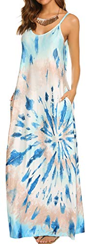 OURS Women's Summer Casual Floral Printed Bohemian Spaghetti Strap Floral Long Maxi Dress with Pockets (Large, A-Blue)
