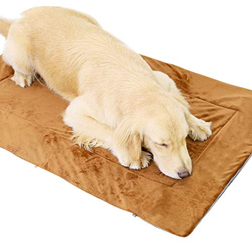 Dog Bed Crate Pad Mat,Washable Pet Mattress Pet Bed Cushion,Non Slip Plush Pet Sleeping Mattress Soft Cotton Kennel Mat for Large Medium Small Dogs And Cats,Brown,XL