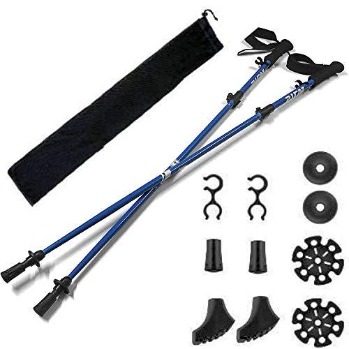 Bastoncini da Nordic Walking Trekking (bastoni) - 2 Pack con Antishock e Sistema Quick Lock, telescopico,Ultraleggero per escursionismo, Campeggio, Zaino in Spalla, Trekking NERO (Blu)
