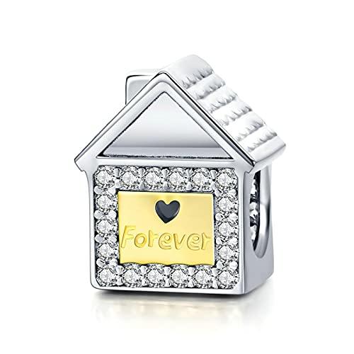 LISHOU Genuino 925 Plata Esterlina Forever Family Sweet Home House Charm Beaded Colgante Fit Original Pulsera Collar Beads DIY Fabricación De Joyas