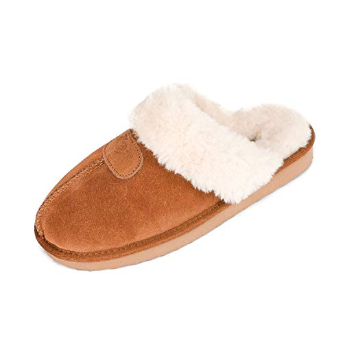 DREAM PAIRS Women's Cozy_05 Chesnut Suede Faux Fur Winter House Slippers Size 6.5-7 M US