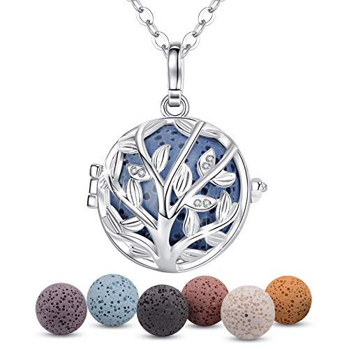 INFUSEU Tree of Life Aromatherapy Necklace Diffuser for Women Essential Oil Jewelry, Cubic Zirconia Pendant Neckless with 7 Lava Rock Stones