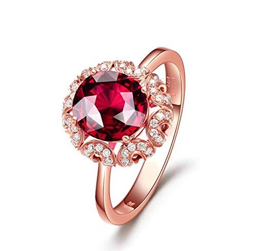 KnSam Bague Femme Fine Reine Tourmaline Rouge Naturelle 1.44ct, Or Rose 18 Carats Élégance Cadeau Noël