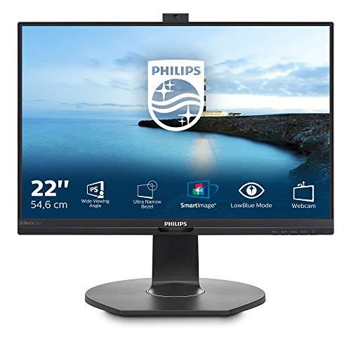 """Philips 221B7QPJKEB Webcam Monitor 22"""" LED IPS, Full HD, Microfono Integrato, Regolabile in Altezza, Girevole, Pivot, Inclinabile, USB 3.0, Casse Audio Integrate, Display Port, HDMI, VGA, Vesa, Nero"""