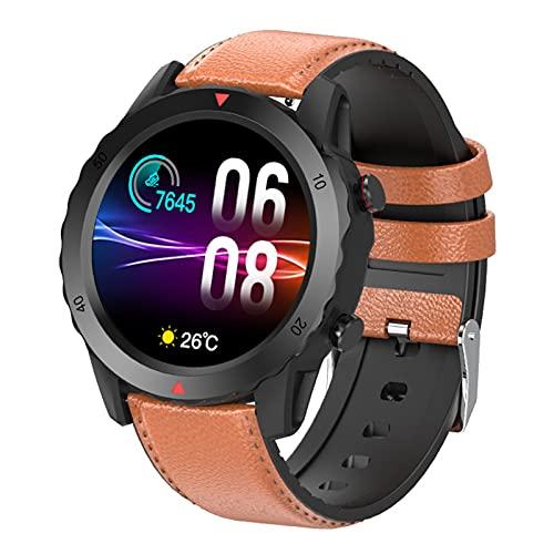 BNMY Smartwatch Reloj Inteligente IP67 Pantalla Táctil Completa Pulsómetro Presión Arterial Monitor De Sueño Modos Deportes Pulsera Actividad para Hombre Mujer Compatible con iOS Y Android,Marrón