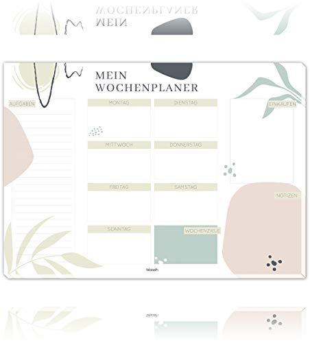 blaash Vade de escritorio y planificador semanal de papel DIN A3, 25 hojas, bloc de notas para tareas, citas y notas de la semana, base y planificador de tareas sin fecha fija, A3, Clean
