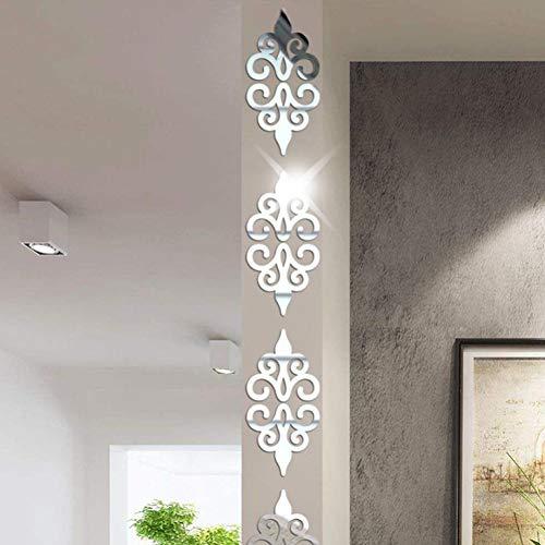 3D Acryl Wandaufkleber, Lenfesh DIY Zimmer Dekoration Specchio Moderne Spiegel Aufkleber Dekoration (Silber)