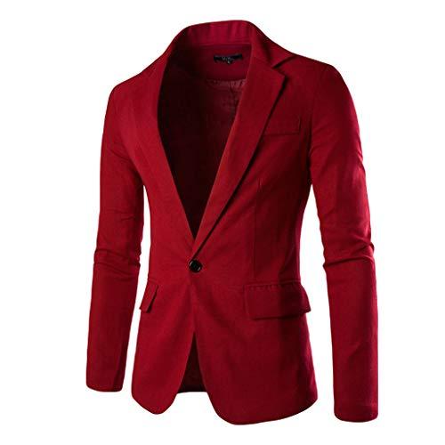 Xmiral Giacca Sportiva Cappotto Blazer Slim Fit Cappotto Casual Suit One Button Affari Bavero Suit Elegante Wedding Outwear Coat Suit Tops Uomo (M,10- Vino)