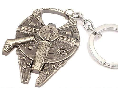 Han Solo`s Millennium Falke - Flaschenöffner in Raumschiff Optik mit Schlüsselanhänger, Edelstahloptik 60x45mm, lustiges Geschenk für Star Wars Fans