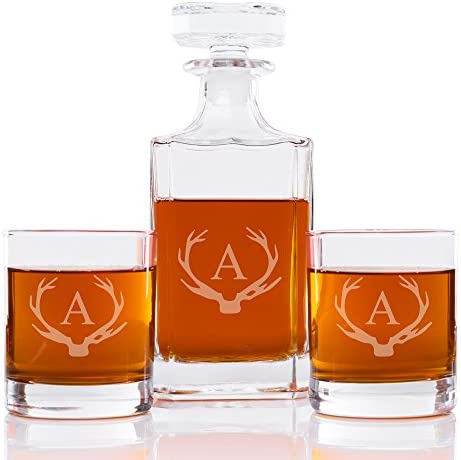 Abby Smith Antler Initial Whiskey Decanter and Rocks Glass Set Letter A product image