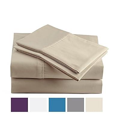 Peru Pima - 285 Thread Count - 100% Peruvian Pima Cotton - Percale - Bed Sheet Set (California King, Latte)