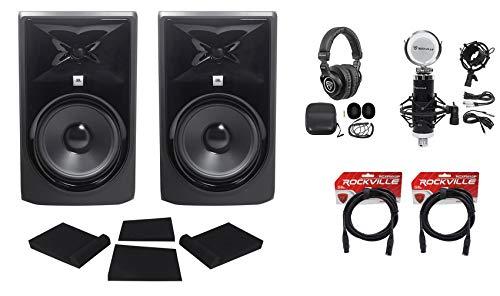 (2) JBL 308P MkII 8' Powered Studio Monitors Speakers+Pads+Cables+Headphones+Mic
