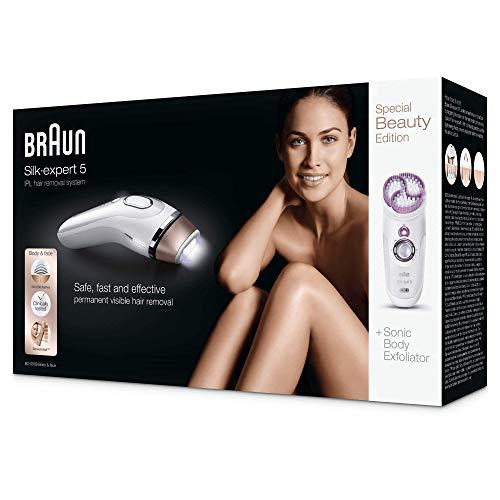 Braun Silk-Expert 5 BD 5009 Epilatore a Luce Pulsata, Epilazione Permanente dei Peli Visibili a Casa, con Spazzola Esfoliante per il Corpo, Bianco/Bronzo