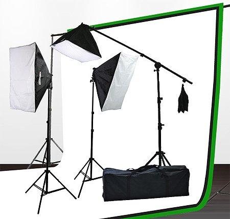 Fancierstudio Lighting kit UL9004SB-69BWG 2000 Watt Photo Studio Lighting Kit with 6-9 Feet Muslin Backdrop and Background Stand-Black White