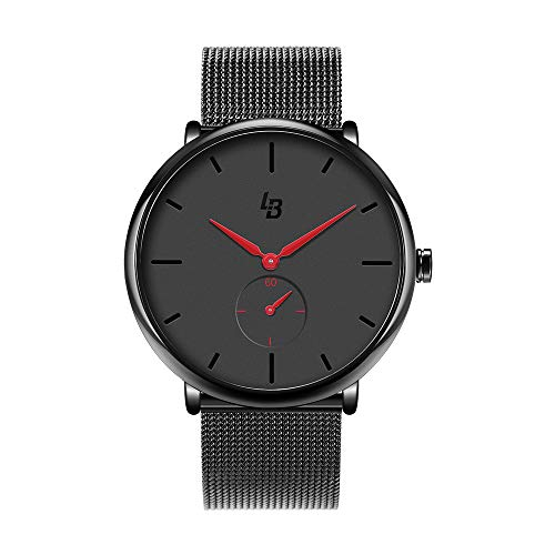 Wrist Watch for Men, Ultra Thin Fashion Waterproof Mens Wrist Watches with Dress Stainless Steel Mesh Band