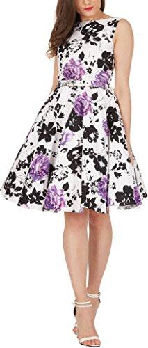 BlackButterfly 'Audrey' Vintage Serenity Kleid im 50er-Jahre-Stil (Weiß & Lila, EUR 36 - XS)
