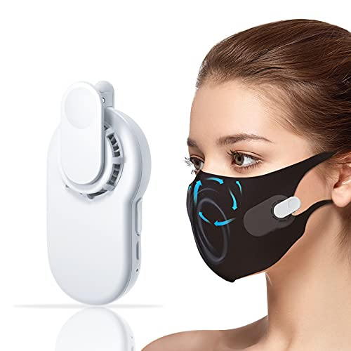 Face Mask Fan, G·SENYE Portable Mini Mask Cooling Fan with Clip Electric Mask Air Fans Wind Kiss Mask Filter Fan for Kids and Adults