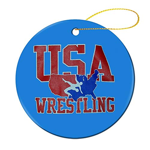 Zeyustge USA Wrestling Christmas Ornament Funny Decorations, Commemorative Ornament, Ceramic Round Ornament & Ribbon for Xmas Tree Ornament Hanging Accessories