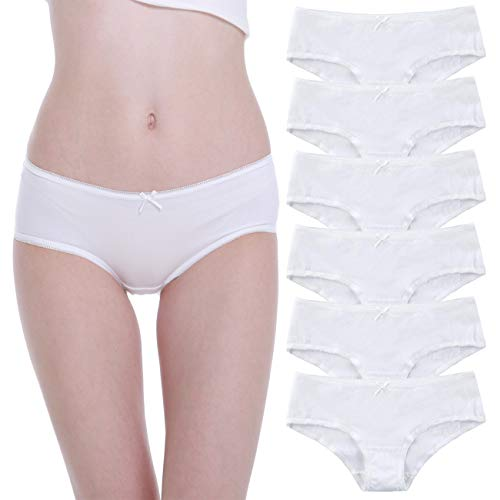 Falechay Unterhosen-Damen-Baumwolle-Unterwäsche 6er Pack Slips Hipsters Spitze Panties Höschen