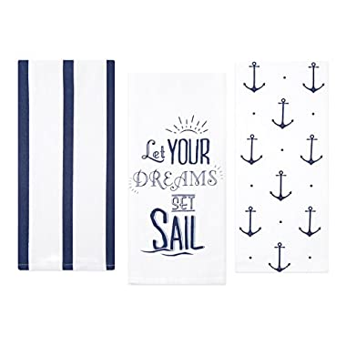 Sticky Toffee Cotton Flour Sack Kitchen Towels, Anchor and Stripe Nautical Prints, 3 Pack, 28 in x 29 in
