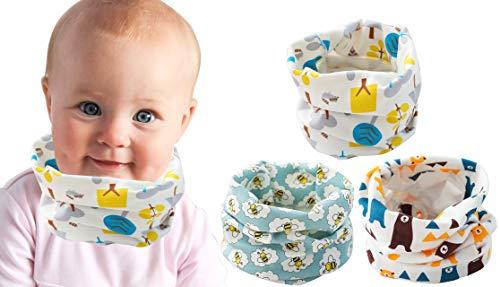 Baby halstuch Säuglinge Baumwolle Wärmer loopschal Winter loop schal kinder O Ring schal Ultraleichte halswärmer Weich schlauchschal Multifunktionstuch Halstücher für Jungen Mädchen, 3 Stück