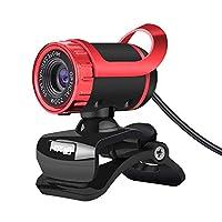 Honelife S9デスクトップ1080PWebカメラUSB2.0Webカメララップトップカメラ内蔵吸音マイクビデオ通話WebカメラPCラップトップ用赤