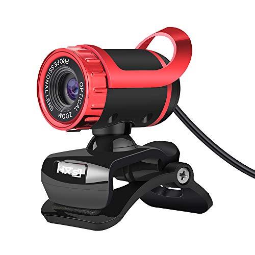 Fesjoy S9 Desktop 1080P Webcam USB 2.0 Cámara para ordenador portátil con micrófono incorporado con absorción de sonido y vídeollamada, compatible con PC y portátil, color rojo