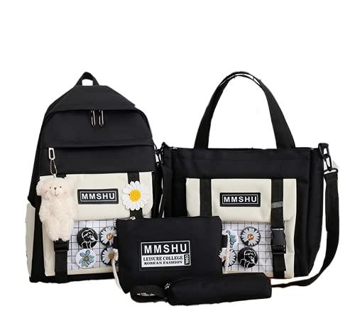 4pcs sacs à dos kawaii avec pendentif ours en peluche, sac à bandoulière japonais tournesol, sac fourre-tout en toile back school, pochette à stylos pour étudiants filles garçons, noir