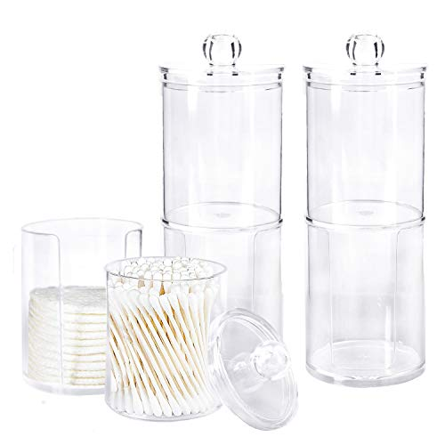 Bekith 3 Pack Apothecary Jars Set, Qtip Holder Dispenser Bathroom, Clear Plastic Acrylic Jar Storage Canister for Cotton Balls, Cotton Swabs, Cotton Rounds, Makeup Pads