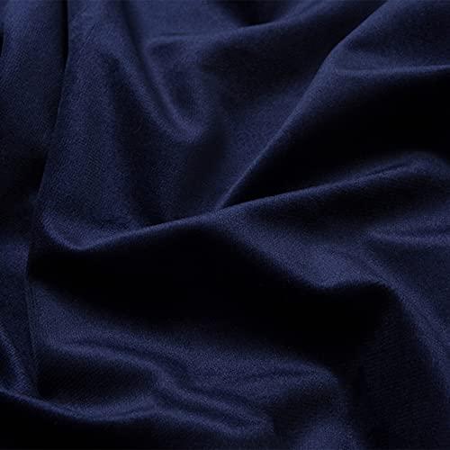FFJD Telas Costura- Tela De Terciopelo De Estiramiento 59 '' De Ancho, Tela De Terciopelo por El Medidor(Color:Armada)