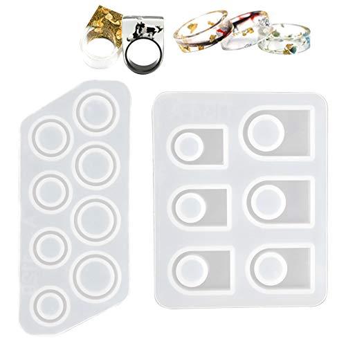 Chstarina Moldes de joyería de fundición de resina 15-22mm + 17-22mm Epoxi de silicona Anillo redondo Colgante Fabricación Molde Pendiente Molde para boda Cumpleaños Artesanía DIY 14 agujeros