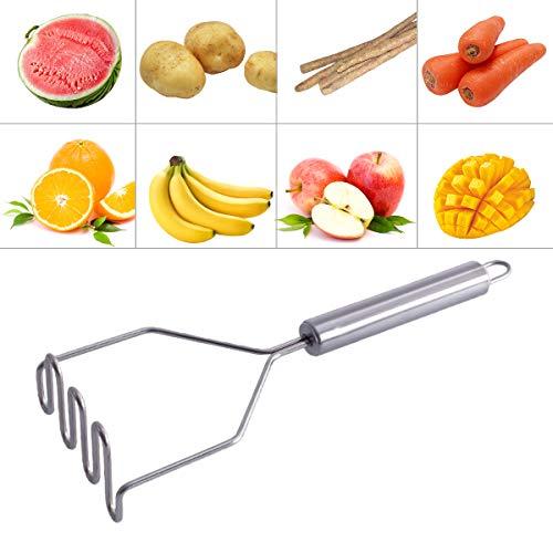 Triturador de patatas, accesorios de cocina de acero inoxidable, triturador de patatas ondulado, triturador de patatas con asa, machacadores gourmet plateados, multiusos fácil de limpiar y usar.