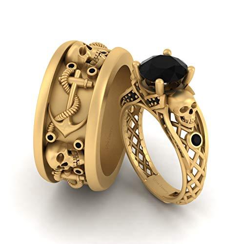 Juego de anillos de boda de ónix negro a juego de 2,35 quilates con calavera para él y ella, juego de pareja de oro amarillo Fn 925 plata de ley